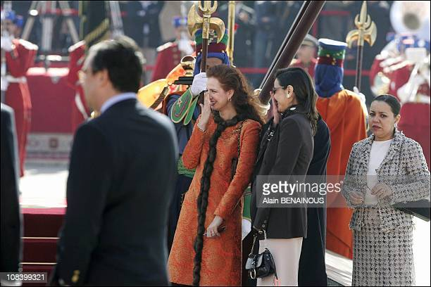 Princess Lalla Salma with sisters of the King at the Royal Palace in Marrakech Morocco on January 17 2005