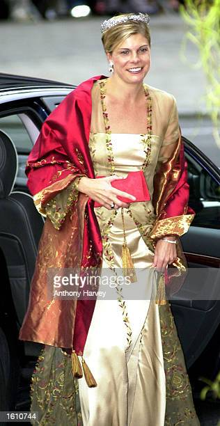 Princess Laurentien of Holland attends the wedding of Norwegian Crown Prince Haakon and MetteMarit Tjessem Hoiby August 25 2001 at the Oslo Cathedral