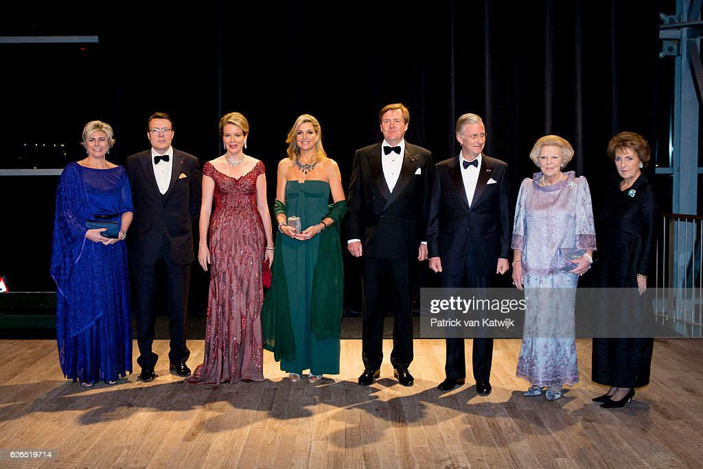 Princess Laurentien, Prince Constantijn, Queen Mathilde, Queen Maxima, King Willem-Alexander, King Philippe, Princess Beatrix and Princess Margriet pictured at the start of the concert offered by the Belgian King in the Muziekgebouw Aan't IJ Amsterdam on November 29, 2016 in The Hague, Netherlands. Vitalis is supported by the Oranje Foundation and guide young vulnerable people