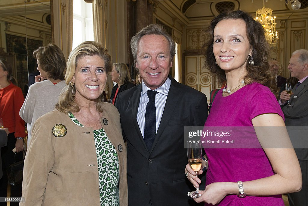 Princess Lea of Belgium, Belgian fashion designer Edouard Vermeulen and Countess Belen de Limburg-Stirum attend an award giving ceremony for French journalist and author Stephane Bern at Palais d'Egmont on March 7, 2013 in Brussels, Belgium.