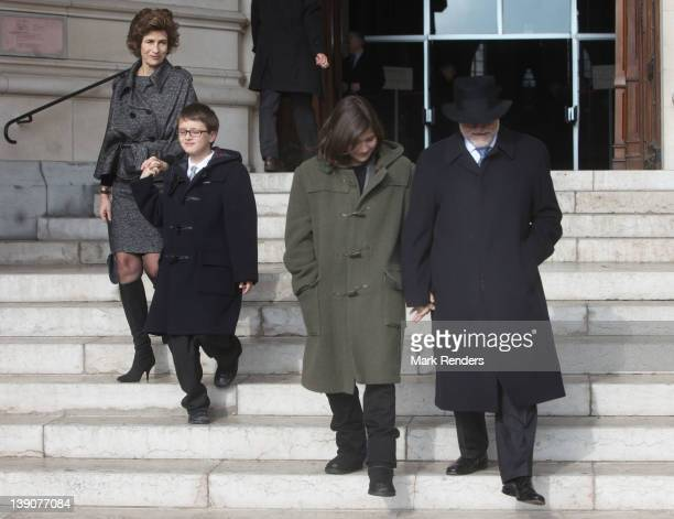 Princess Lea Prince Didier and Princess Laetitia attend a Memorial Mass for deceased Belgian Royals at Eglise NotreDame de Laeken on February 16 2012...