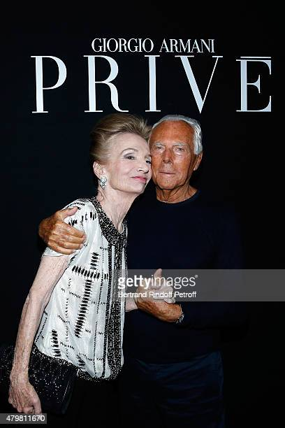 Princess Lee Radziwill and Giorgio Armani pose Backstage after the Giorgio Armani Prive show as part of Paris Fashion Week HauteCouture Fall/Winter...