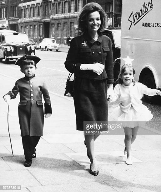 Princess Lee Radziwill sister of Jacqueline Kennedy with her children Anthony and Anna Christina arriving for the Children's Dancing Matinee at the...