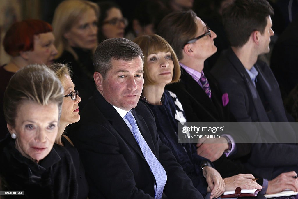 Princess Lee Radziwill, Susan Tolson, wife of US Ambassador to France and Charles Rivkin, US Ambassador to France and Anna Wintour, editor-in-chief of US Vogue, attend Italian fashion designer Giambattista Valli's Haute Couture Spring-Summer 2013 collection shows on January 21, 2013 in Paris.