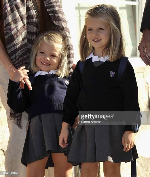 Princess Leonor and Princess Sofia arrive at 'Santa Maria de los Rosales' School on September 15 2010 in Aravaca near of Madrid Spain