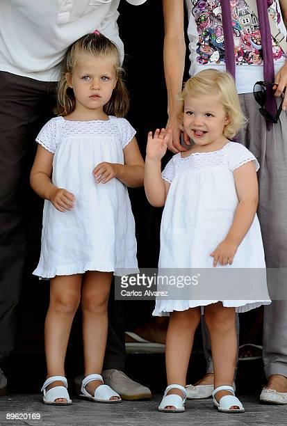 Princess Leonor and Princess Sofia arrive to the Real Club Nautico de Palma to attend Jaume Angladas pop concert during the third day of 28th Copa...