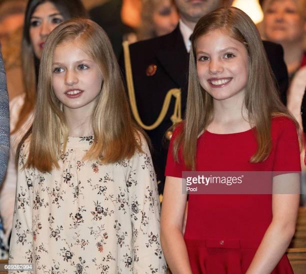 Princess Leonor and Princess Sofia attend the Easter Mass at the Cathedral of Palma de Mallorca on April 16 2017 in Palma de Mallorca Spain