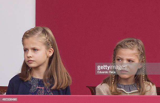 Princess Leonor and Princess Sofia attend the National Day Military Parade 2015 on October 12 2015 in Madrid Spain