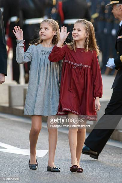 Princess Leonor and Princess Sofia attend the opening ceremony of 12th legislative session at the Spanish Parliament on November 17 2016 in Madrid...