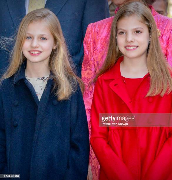 Princess Leonor and Princess Sofia of Spain attend the easter mass on April 16 2017 in Palma de Mallorca Spain