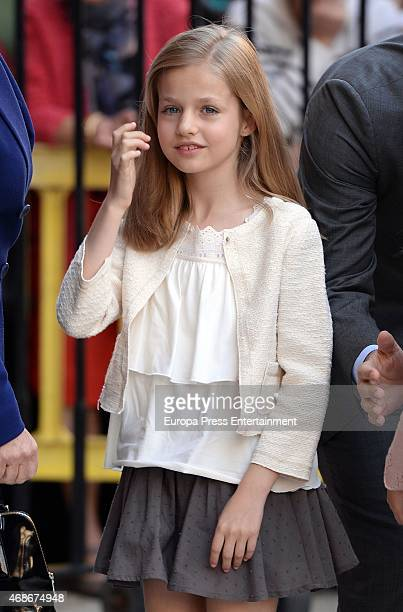 Princess Leonor attends Easter mass at the Cathedral on April 5 2015 in Palma de Mallorca Spain