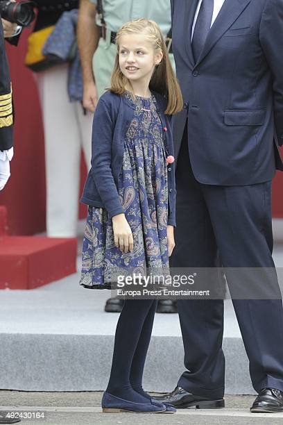 Princess Leonor attends the National Day Military Parade 2015 on October 12 2015 in Madrid Spain