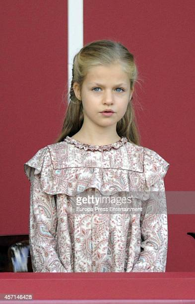 Princess Leonor attends the National Day Military Parade on October 12 2014 in Madrid Spain