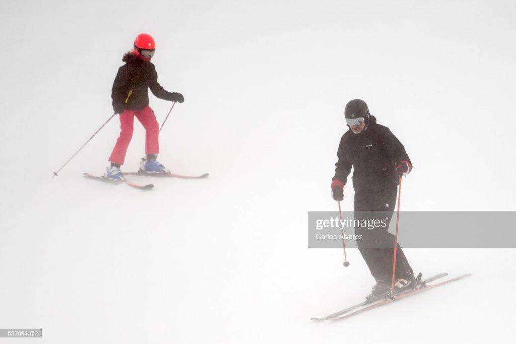Princess Leonor of Spain and King Felipe VI of Spain enjoy a short private skiing break on February 5, 2017 in Jaca, Spain.