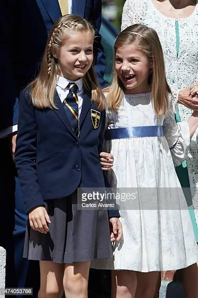 Princess Leonor of Spain and Princess Sofia of Spain arrive at the Asuncion de Nuestra Senora Church for the First Communion of the Princess Leonor...