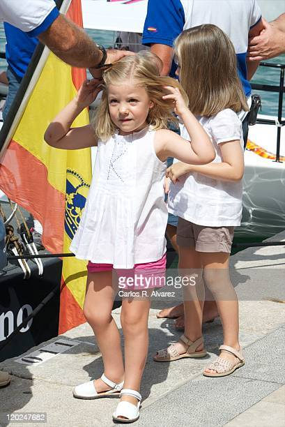 Princess Leonor of Spain and Princess Sofia of Spain attend 30th Copa del Rey Audi Mapfre Sailing Cup day 2 at the Club Nautico on August 2 2011 in...