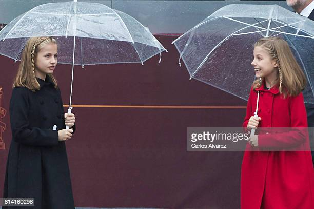 Princess Leonor of Spain and Princess Sofia of Spain attend the National Day military parade on October 12 2016 in Madrid Spain