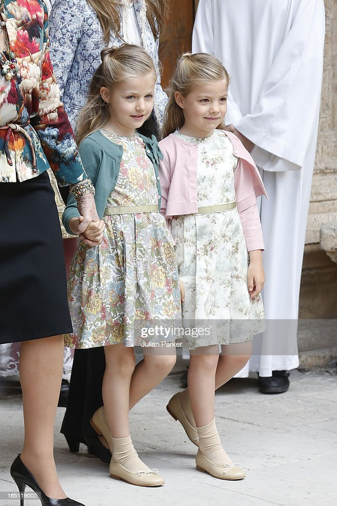 Princess Leonor of Spain (L) and Princess Sofia of Spain, attend the Easter Sunday Church Service, at Palma Cathedral on March 31, 2013 in Mallorca, Spain.