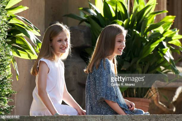 Princess Leonor of Spain and Princess Sofia of Spain pose for the photographers during the summer photocall at the Marivent Palace on July 31 2017 in...