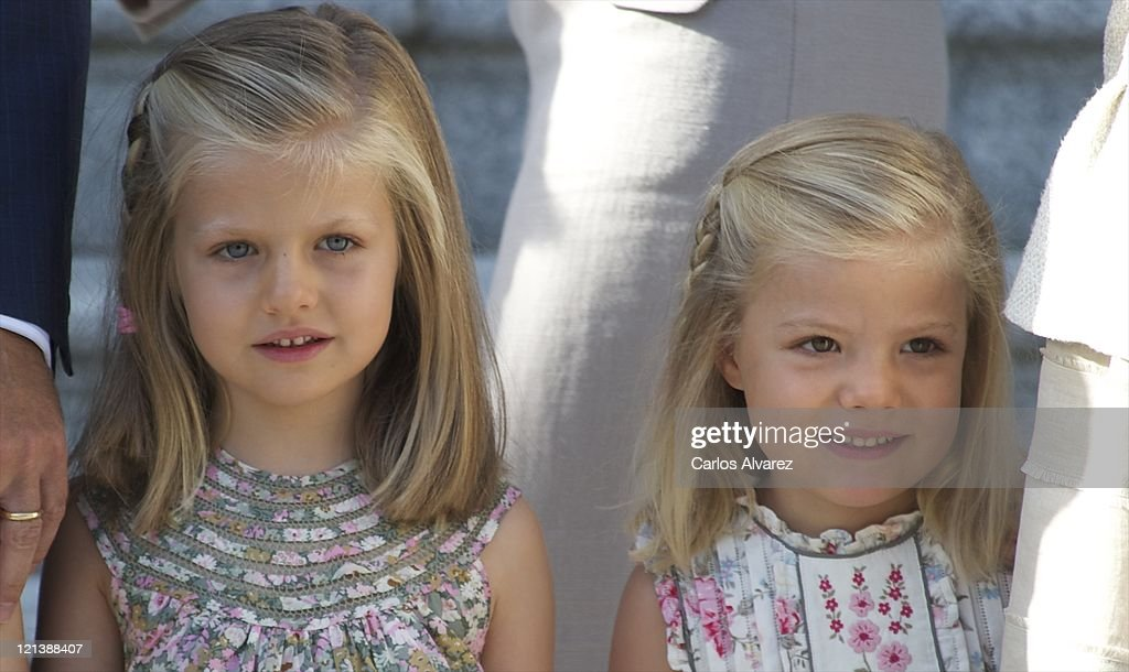 Princess Leonor of Spain (L) and Princess Sofia of Spain receive Pope Benedict XVI at Zarzuela Palace on August 19, 2011 in Madrid, Spain. Initiated by Pope John Paul II in 1985, World Youth Day youth-oriented events for the celebration of the Catholic faith are held every three years in a different country; this time in Madrid from August 16th to 21st, with Pope Benedict XVI in attendance.