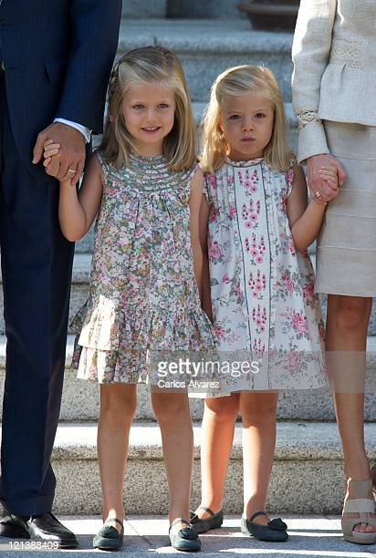 Princess Leonor of Spain and Princess Sofia of Spain receive Pope Benedict XVI at Zarzuela Palace on August 19 2011 in Madrid Spain Initiated by Pope...