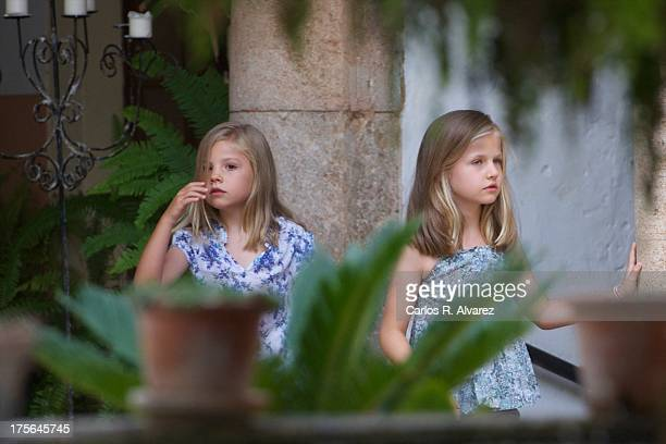 Princess Leonor of Spain and Princess Sofia of Spain visit 'La Granja' on August 5 2013 in Esporles Palma de Mallorca Spain