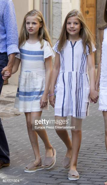 Princess Leonor of Spain and Princess Sofia of Spain visit the Can Prunera Museum on August 6 2017 in Palma de Mallorca Spain