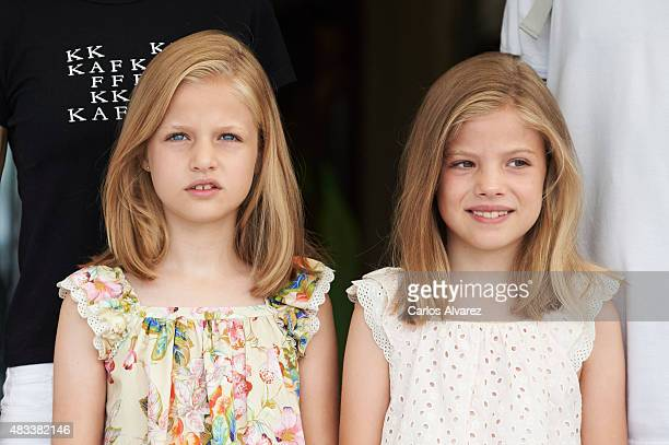 Princess Leonor of Spain and Princess Sofia of Spain visit the Royal Nautical Club during the last day of 34th Copa del Rey Mapfre Sailing Cup on...