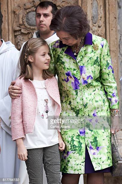 Princess Leonor of Spain and Queen Sofia attend the Easter Mass at the Cathedral of Palma de Mallorca on March 27 2016 in Palma de Mallorca Spain