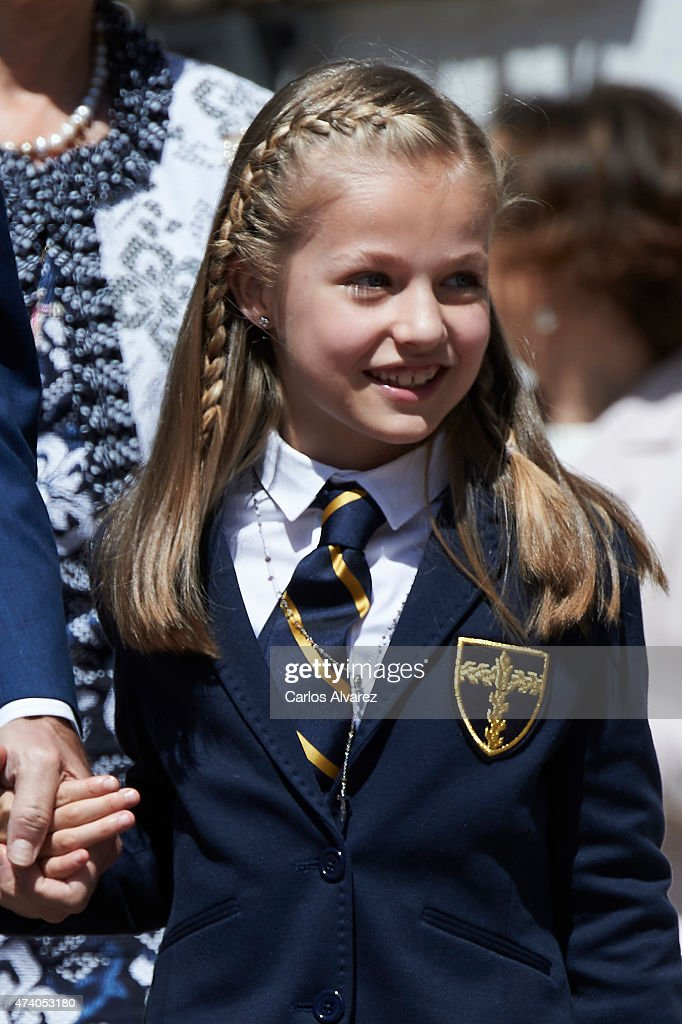 Princess Leonor of Spain arrive at the Asuncion de Nuestra Senora Church for his First Communion on May 20, 2015 in Aravaca, near of Madrid, Spain.