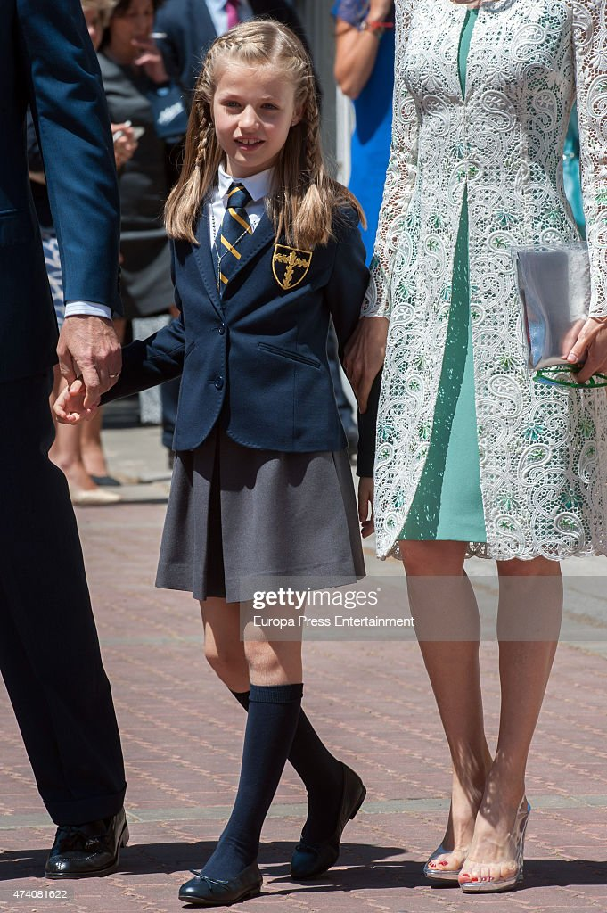 Princess Leonor of Spain attends her First Communion on May 20, 2015 in Madrid, Spain.