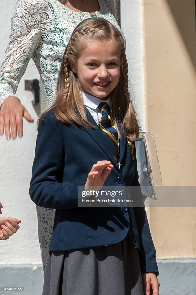 Princess Leonor of Spain attends herFirst Communion on May 20, 2015 in Madrid, Spain.