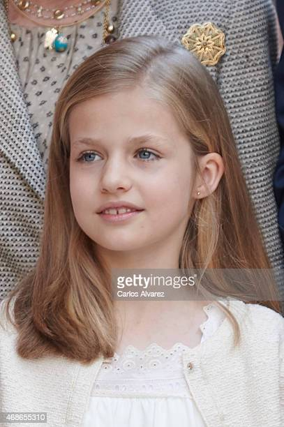 Princess Leonor of Spain attends the Easter Mass at the Cathedral of Palma de Mallorca on April 5 2015 in Palma de Mallorca Spain