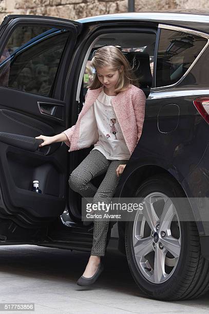 Princess Leonor of Spain attends the Easter Mass at the Cathedral of Palma de Mallorca on March 27 2016 in Palma de Mallorca Spain