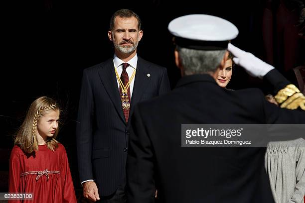 Princess Leonor of Spain King Felipe VI of Spain and Queen Letizia of Spain watch the military parade at the end of the solemn opening of the twelfth...