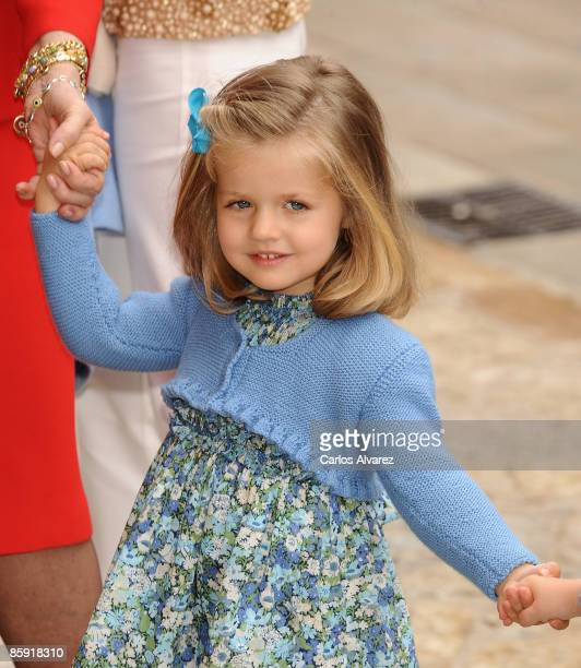 Princess Leonor of Spain leaves Palma de Mallorca Cathedral after Easter Sunday Mass on April 12 2009 in Palma de Mallorca Spain