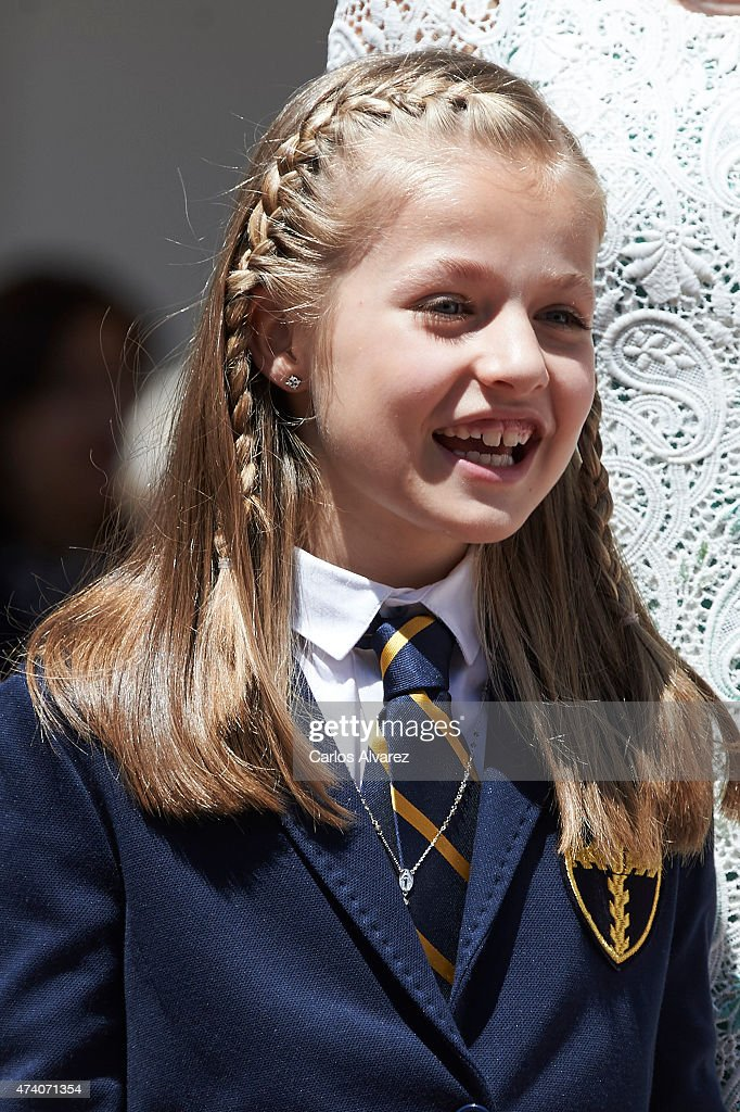 Princess Leonor of Spain poses for the photographers after the her First Communion at the Asuncion de Nuestra Senora Church on May 20, 2015 in Madrid, Spain.