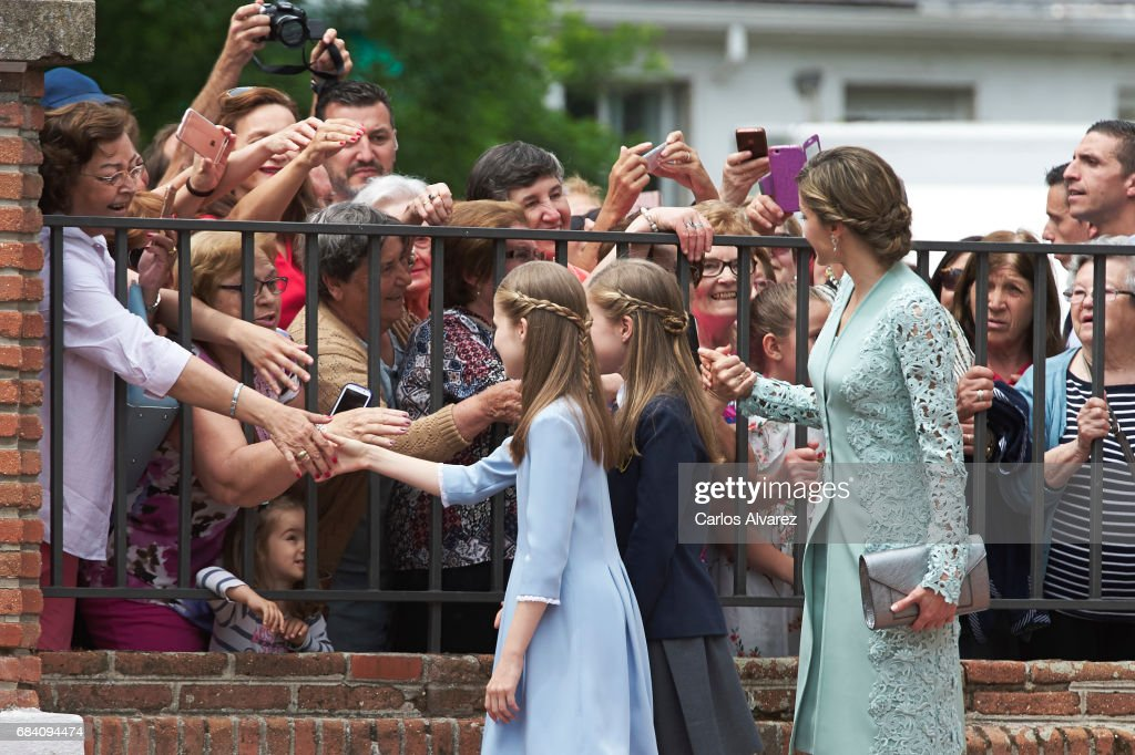 Princess Leonor of Spain, Princess Sofia of Spain and Queen Letizia of Spain leaves after the First Communion of Princess Sofia of Spain at the Asuncion de Nuestra Senora Church on May 17, 2017 in Madrid, Spain.