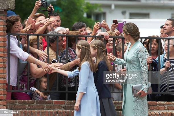 Princess Leonor of Spain Princess Sofia of Spain and Queen Letizia of Spain leaves after the First Communion of Princess Sofia of Spain at the...