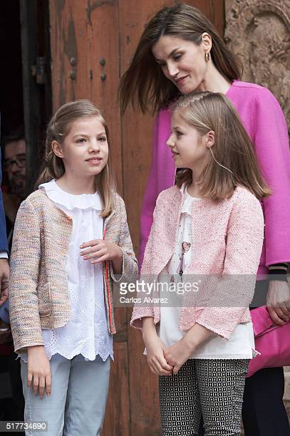 Princess Leonor of Spain Queen Letizia of Spain and Princess Sofia of Spain attend the Easter Mass at the Cathedral of Palma de Mallorca on March 27...