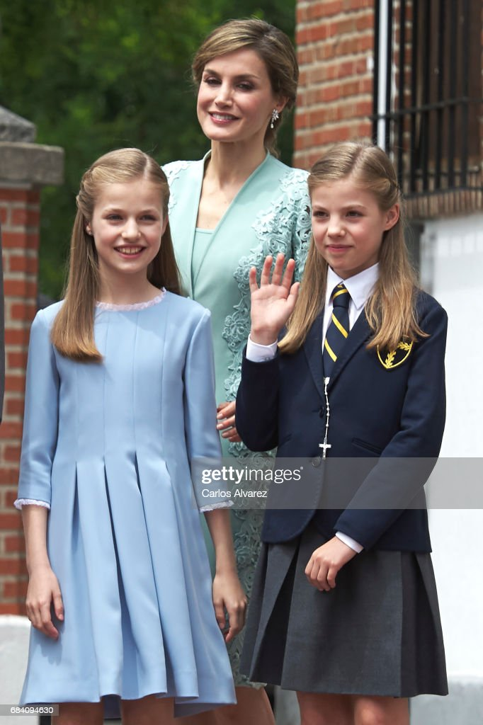 Princess Leonor of Spain, Queen Letizia of Spain and Princess Sofia of Spain leave after the First Communion of Princess Sofia of Spain at the Asuncion de Nuestra Senora Church on May 17, 2017 in Madrid, Spain.