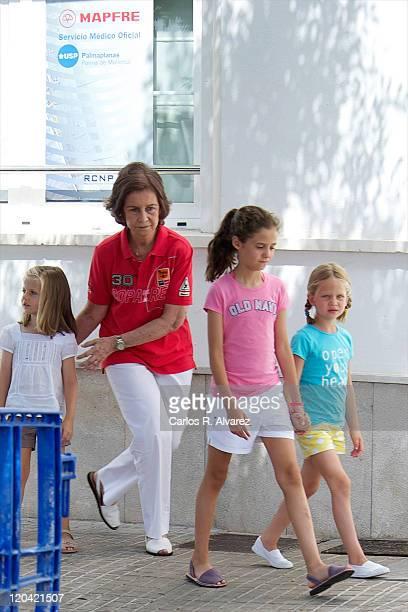 Princess Leonor of Spain Queen Sofia of Spain Victoria Federica Marichalar and Irene Urdangarin attend 30th Copa del Rey Audi Mapfre Sailing Cup day...