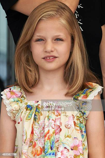 Princess Leonor of Spain visits the Royal Nautical Club during the last day of 34th Copa del Rey Mapfre Sailing Cup on August 8 2015 in Palma de...