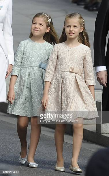 Princess Leonor Princess of Asturias and Princess Sofia arrive at Spanish Parliament on June 19 2014 in Madrid Spain