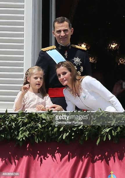 Princess Leonor Princess of Asturias King Felipe VI of Spain and Queen Letizia of Spain appear at the balcony of the Royal Palace during the King's...