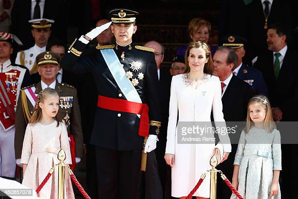 Princess Leonor Princess of Asturias King Felipe VI of Spain Queen Letizia of Spain and Princess Sofia review walk past a guard of Honor at the...