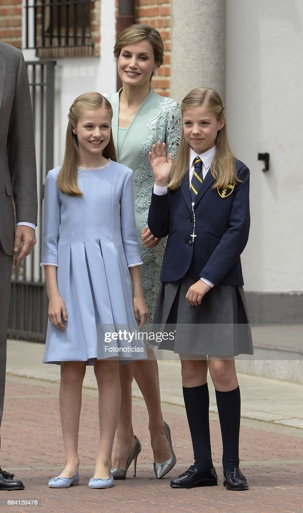 Princess Leonor Spain, Queen Letizia of Spain and Princess Sofia of Spain pose for photographers after the First Communion of Princess Sofia of Spain at the Asuncion de Nuestra Senora Church on May 17, 2017 in Madrid, Spain.