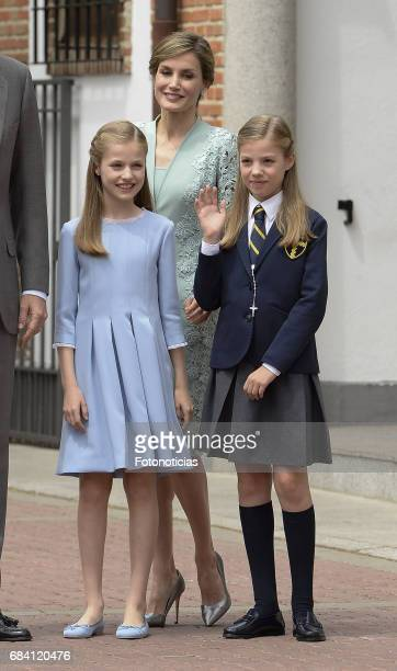Princess Leonor Spain Queen Letizia of Spain and Princess Sofia of Spain pose for photographers after the First Communion of Princess Sofia of Spain...