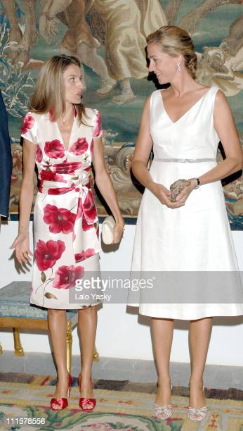 Princess Letizia and Cristina of Spain during Spanish Royals attend the Traditional Summer Holidays End Dinner at Almudaina Palace in Palma de...