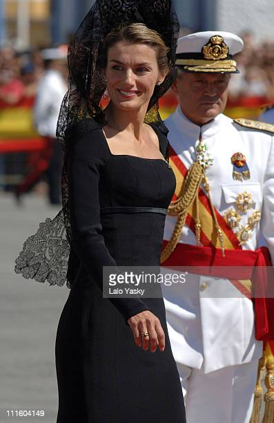 Princess Letizia and Crown Prince Felipe during Crown Prince Felipe and Princess Letizia preside over the Combat Flag Ceremony of the Spanish Navy...